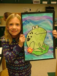 Art with Mrs. Seitz: 2nd Grade frogs with model magic flowers