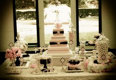pearls and lace photo shoot, pink candy buffet, frames, cake by Dawneen Hebert, Artistic Confections