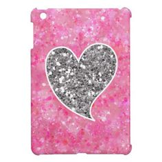 Silver and Pink Glittery Hearts iPad Mini Cover