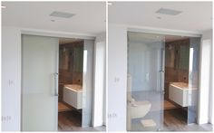 LCD Switchable Sliding Glass Door - Open Left: Off. Right: On #shepwayglass #privacyglass #glasssolutions