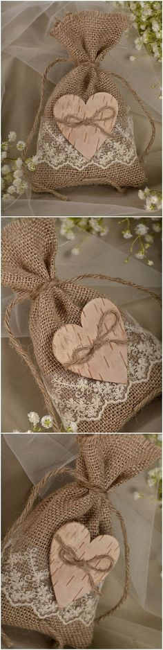 Rustic country burlap and lace wedding favor bags #weddingideas #rusticwedding…