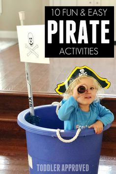 Here are 10 super easy Pirate Week activities that are quick to put together and pack in a whole lot of fun! These are great for preschoolers and toddlers!