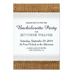 bachelorette party country wedding invitations Jute and Lace Bachelorette Party Invitations