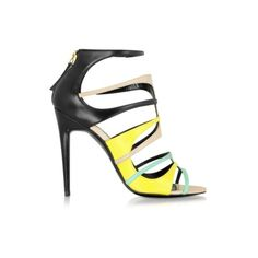 Pierre Hardy Multicolor Pool Leather Carioca Sandal ($995) ❤ liked on Polyvore featuring shoes, sandals, multicolor, open toe shoes, colorful shoes, black open toe sandals, multi color shoes and black sandals