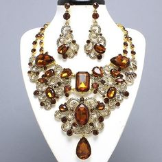 Sparking Evening Statement Topaz & Gold Crystal Bib Jewelry Necklace Earrings