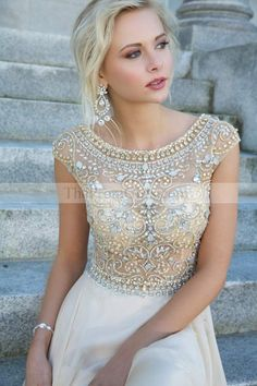 2014 Elegant Prom Dresses Scoop A Line Floor Length Beaded Tulle Bodice With Chiffon Skirt - Long Prom Dresses - Shop Prom