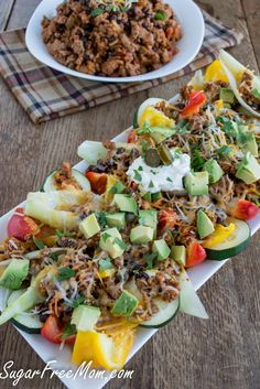 Healthier Chip Free Nachos/ sugarfreemom.com #superbowlfood #gamedayfood #cleaneating