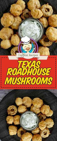 Copycat Logans Roadhouse Fried Mushrooms - - Copycat Logans Roadhouse Fried Mushrooms CopyKat Recipes Make the best fried mushrooms with this easy Logan's Roadhouse copycat recipe. The batter is what makes these deep fried mushrooms taste so good. Fried Mushroom Recipes, Vegetable Recipes, Mushrooms Recipes, Deep Fried Mushrooms, Stuffed Mushrooms, Battered Mushrooms, Copykat Recipes, Snacks Sains, Restaurant Recipes