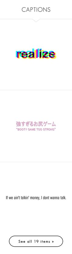 """""""CAPTIONS"""" by dope-items ❤ liked on Polyvore featuring words, quotes, text, fillers, backgrounds, doodle, phrase, saying, scribble and emojis // transparent"""