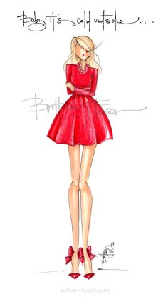 Brittany Fuson | fashion illustration | Christmas | holiday | Christmas cards | cocktail party | unique Christmas cards | Christmas presents Unique Christmas Cards, Christmas Presents, Christmas Holiday, Ballet Fashion, Fashion Art, Fashion Design Sketches, Ceramic Decor, Fairy Art, Holiday Fashion