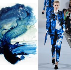 Digital printing is continuing to be a dominant factor in print trends for 2013, with watercolour, hand-painted art and large scale photographs becoming placement printed digital textile prints. This trend follows on from 2012 trends with Oscar de La Renta's Resort 2013 collection showing prints of with large scale watercolour effects (above, watercolour from Pinterest) and photographs of flowers (below).