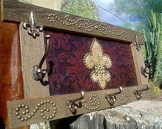 leather western clock | DAMASK LEATHER FLUER DE LIS Wall Mount HOOK Rack
