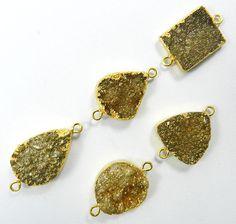 14.75Gm Wholesale lot 5 Pcs Coated Golden Druzy Brass shiny connectors jewellery #MagicalCollection #Connectors