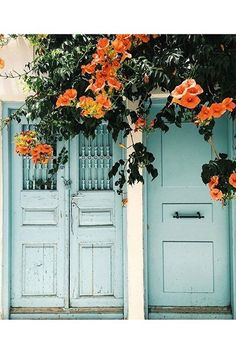 Greek Flower Door - See the most beautiful doors from all around the world courtesy of Door J'adore pics from their regular Instagram takeovers on the House & Garden account.