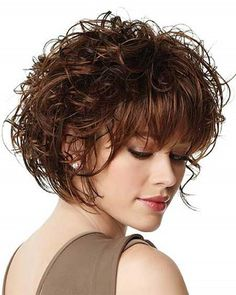 Messy short curly bob hairstyles with bangs for fine hair