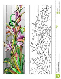 stained glass patterns flowers | Floral Stained-glass Pattern Stock Vector - Image: 65200334