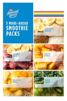 Enjoy a different smoothie color every day of the week. Simply blend a rainbow smoothie pack with Almond Breeze Almondmilk! Breakfast Smoothies, Healthy Smoothies, Healthy Drinks, Smoothie Recipes, Diet Recipes, Healthy Snacks, Breakfast Recipes, Snack Recipes, Cooking Recipes