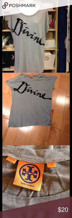 """TORY BURCH """"Divine"""" Tee 100% modal tee with the word """"Divine"""" scripted in black sequins across the front. Dry clean only. Oversized and designed to fit loosely Tory Burch Tops Tees - Short Sleeve"""