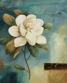 Trademark Fine Art 'Magnolia Abstract II' Canvas Art by Lisa Audit, Size: 24 x 32 Artist Canvas, Canvas Art, Canvas Size, Floral Prints, Art Prints, Beige Background, Decoupage Paper, Arte Floral, Vintage Flowers