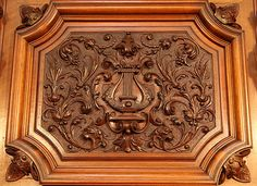 Oscar Gerbstadt piano carved, panel detail