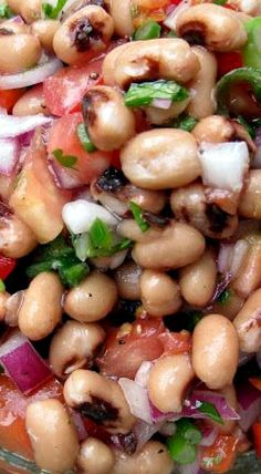 Black Eyed Pea Salad.... Also delish  with black beans instead, but DON'T use canned beans.. Cook fresh!!!