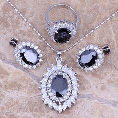 Black Sapphire White Topaz Silver Jewelry Sets Earrings Pendant Ring For Women Size 5 / 6 / 7 / 8 / 9 / 10 Free Gift Bag S0062  #rings #designerdivajewelry #bracelets #weddingjewelry #pendants