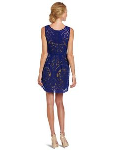 Yoana Baraschi Women's New Wave Party Dress, X-Blue/Fool's Gold, 2 at Amazon Women's Clothing store: