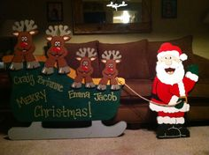Wooden yard art!! Christmas sleigh with reindeer and Santa!! www.facebook.com/thewackywoodshop Christmas Tree Cut Out, Christmas Yard Art, Christmas Yard Decorations, Christmas Wood, Christmas Signs, Christmas Time, Lawn Decorations, Yard Ornaments, Holiday Wood Crafts