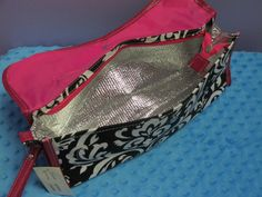 Personalized Hot Pink Damask Curling by EmbroideryByLindaP on Etsy lined with mylar