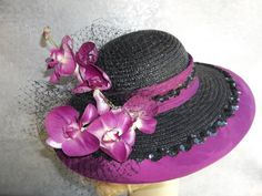 Wide Brim Black and Magenta Hat - Kentucky Derby - Tea Party.