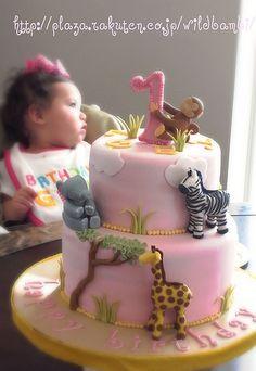 1st Birthday Pink Safari Cake