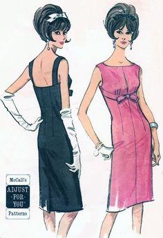 1960s Lovely Trigere Style Cocktail Evening Dress Pattern McCalls 7327 Sizzling Slim Empire Dress Bateau Slit Neckline Bust 33-35 Vintage Sewing Pattern