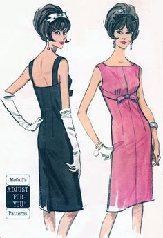 1960s Lovely Trigere Style Cocktail Evening Dress Pattern McCalls 7327 Sizzling Slim Empire Dress Bateau Slit Neckline Bust 33-35 Vintage Sewing Pattern