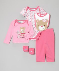Love this Pink Teddy Bear Five-Piece Layette Set - Infant by Peanut Buttons on #zulily! #zulilyfinds