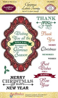 Justrite Papercrafts | clear stamps | Spellbinders Compatible Stamps | Christmas Labels Twenty