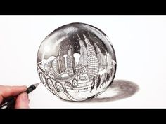 How to Draw in Five Point Perspective: Moon Lit City 5 Point Perspective, Perspective Drawing, Online Drawing Course, Bubble Drawing, City Drawing, Woman Drawing, Art Courses, Crayon, Art School