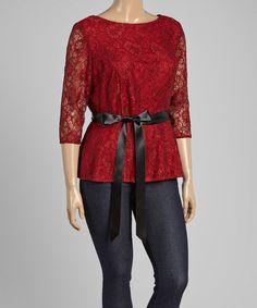 Look at this #zulilyfind! Jessica Howard Red & Black Lace Top - Plus by Jessica Howard #zulilyfinds