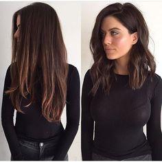 Fastande så för denna bilden. Titta vad klippning och färgning kan göra skillnad. Från långt trist och torrt hår till lyster och attityd ❕#hairinspiration #hairtrends #hair #longlob #hairstyling #hairmakeover #makeover #brunette #haircolor #repost