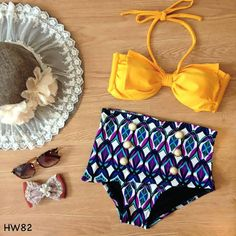 Pre-Order: #82 - Yellow Bow Bandeau Halter Strap Abstract Highwaist Swimsuit Swimwear Two Piece Bikini Bathing Suit on Etsy, $20.00