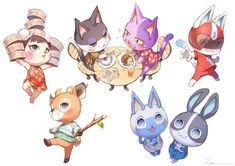 cute animal crossing art by ry_o_ta_ Animal Crossing 3ds, Rare Animals, Animals And Pets, Funny Animals, Love Is Cartoon, Cat Drawing, Drawing Sketches, Funny Cartoons, Furry Art