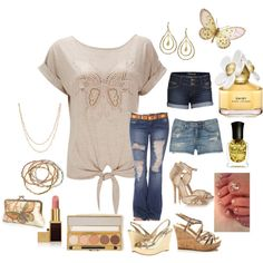 Gold Butterfly, created by lulurose98 on Polyvore