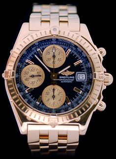 Breitling Chronomat Or Jaune 18k $20,207 #Breitling #watch #watches #chronograph 18k yellow gold, background, and crown screwed, waterproof to 100m