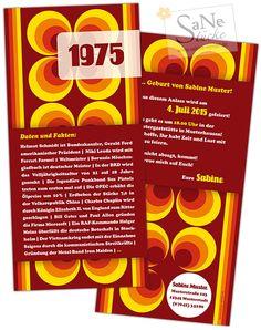 Die ultimative Einladungskarte zum Geburtstag für alle, die 1975 geboren sind, im Retro-Stil!