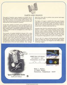 Space First Day Cover: Earth and Uranus First Day Covers, Space Program, Knowledge, Chart, Map, Location Map, Maps, Facts