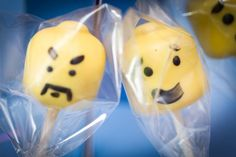 Some chocolate cakepop Lego heads from Nompops