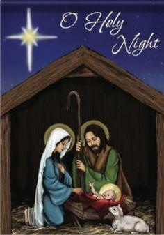 O Holy Night Nativity Flag, Large .great flag to put out during CHRISTmas! Christmas Garden Flag, Christmas Manger, Christmas Tree Bows, Xmas Ornaments, Xmas Tree, All Things Christmas, Christmas Time, Christmas Cards, Merry Christmas