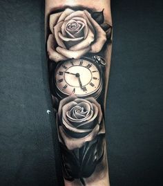 Relistic pocket watch and rose forearm tattoo - 100 Awesome Watch Tattoo Designs <3 <3 #TattooYou