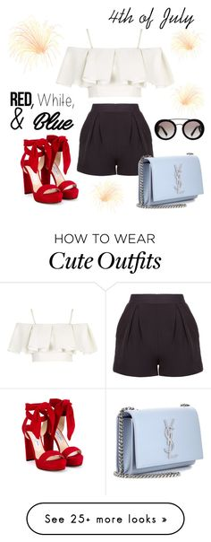 """""""Cute 4th of July outfit"""" by rachelmterrell on Polyvore featuring Jimmy Choo, Topshop, Prada, Yves Saint Laurent, redwhiteandblue, july4th and polyvorecontest"""