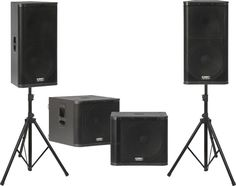 "QSC KW152 / KW181 Powered Speaker Dual Sub Package | KW152 loudspeakers 15"" 2-way speaker with a a 1.75"" diaphragm compression driver - 1000-Watt Class D power module (2 x 500W) - KW181 Subwoofer: 1000-Watt Class D power module (2 x 500W)"