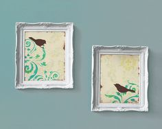 Love Bird Prints Damask wall decor Cottage Chic by loriamckee, $48.00